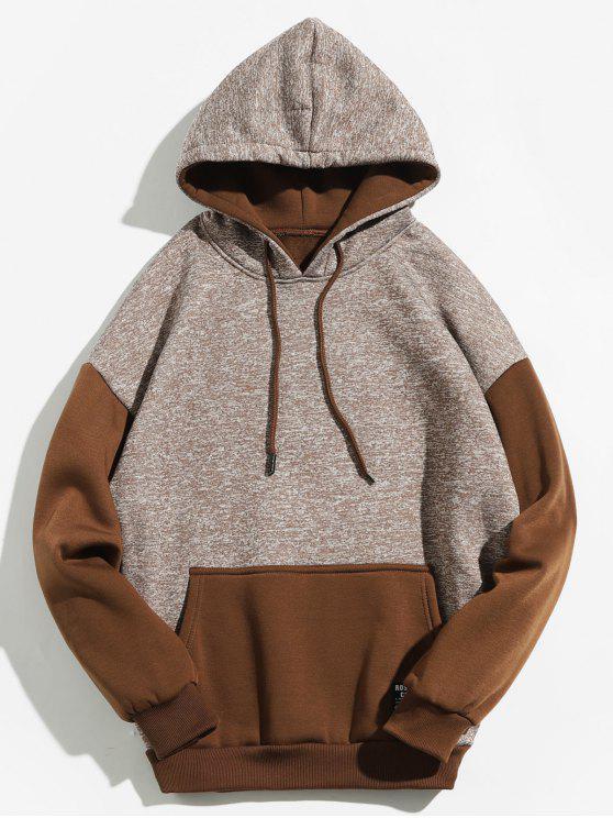 Sweat à capuche de couleur contrastante avec poche kangourou - Café XL