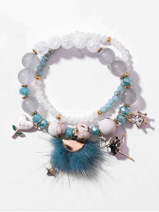 ladies Double Layered Elastic Beaded Bracelet - GRAY CLOUD