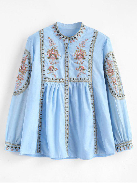 Blusa plisada bordado de flores - Celeste L
