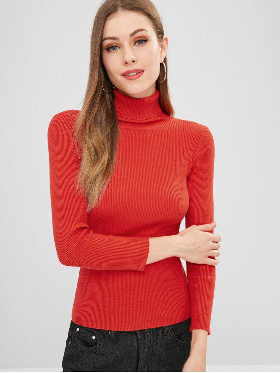 online ZAFUL Turtleneck Ribbed Sweater - RED ONE SIZE