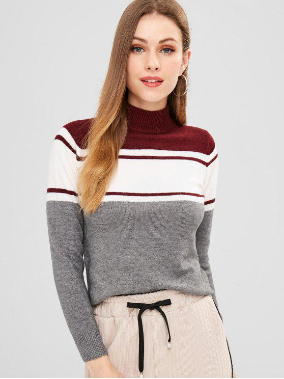 new ZAFUL Mock Neck Stripes Slit Sweater - MULTI ONE SIZE