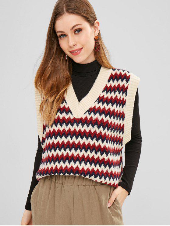 hot ZAFUL Zig Zag V Neck Vest Sweater - MULTI ONE SIZE