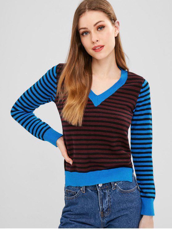 shop ZAFUL Slit Stripes V Neck Sweater - MULTI ONE SIZE