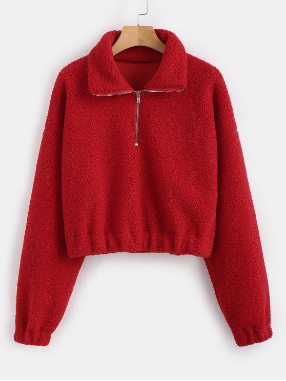 lady Half Zip Plain Faux Fur Sweatshirt - RED L
