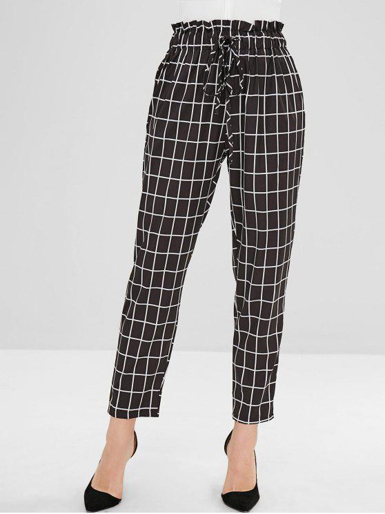 fancy High Waisted Checked Straight Pants - BLACK S
