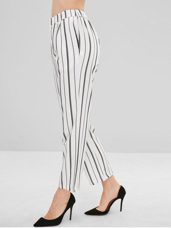 Pantalon Droit Rayé de Neuf Minutes - Blanc L