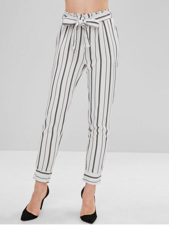 chic Ninth Belted Stripes Straight Pants - WHITE M