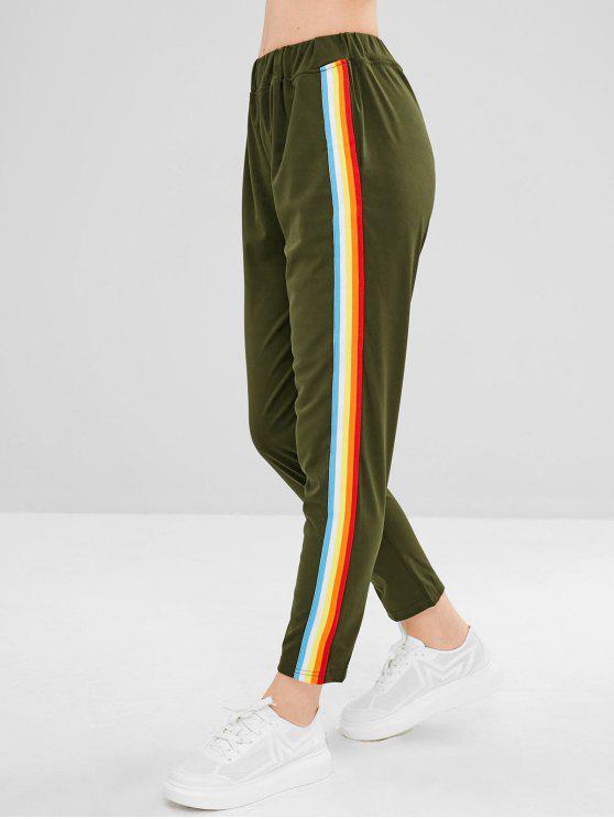 Pantalon Droit Coloré Rayé - Vert Armée  M