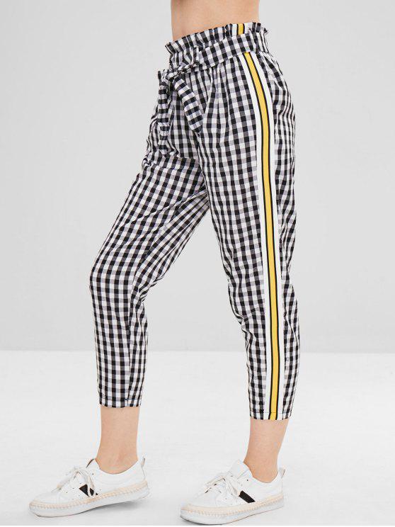 women Belted Stripes Plaid Straight Pants - MULTI-B L