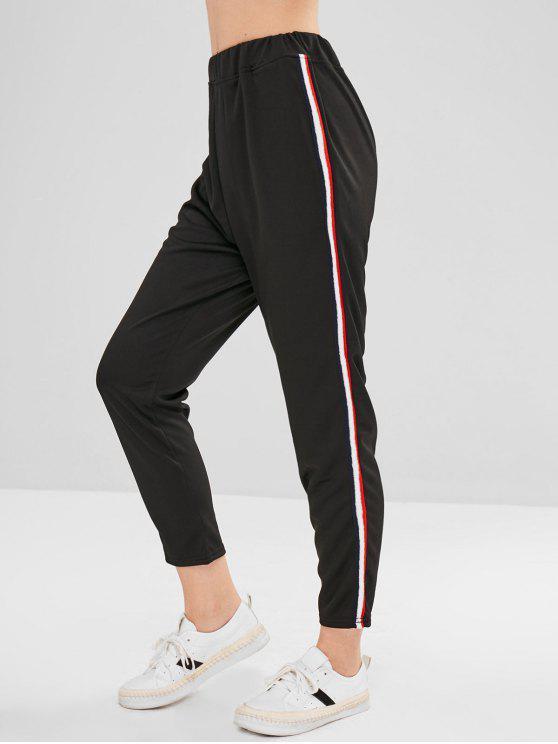 Девятые полоски прямые штаны - Чёрный L