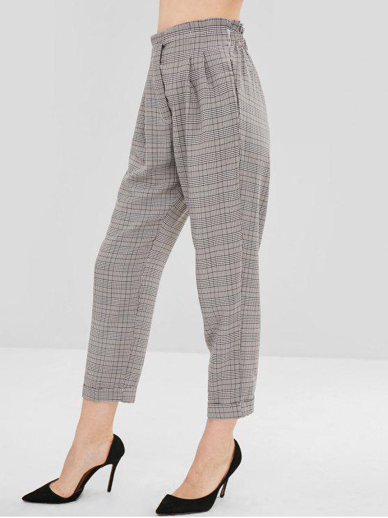 womens Plaid Cuffed Straight Pants - MULTI M