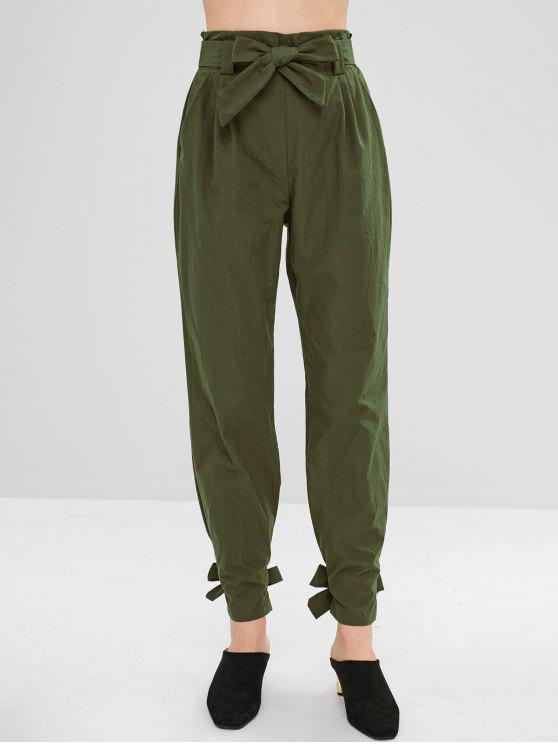women Belted Knotted Straight Pants - ARMY GREEN M