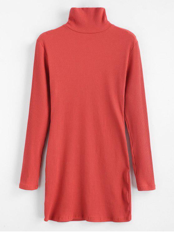 women ZAFUL Ribbed Turtleneck Mini Dress - CHESTNUT RED M