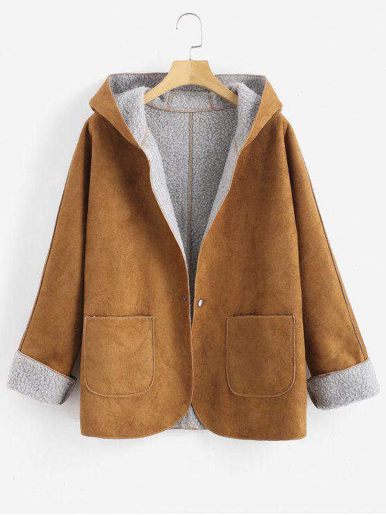 chic Cuffed Sleeves Hooded Sheepskin Coat - CARAMEL S