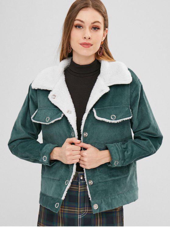 fancy ZAFUL Snap Button Sheepskin Jacket - DARK TURQUOISE S