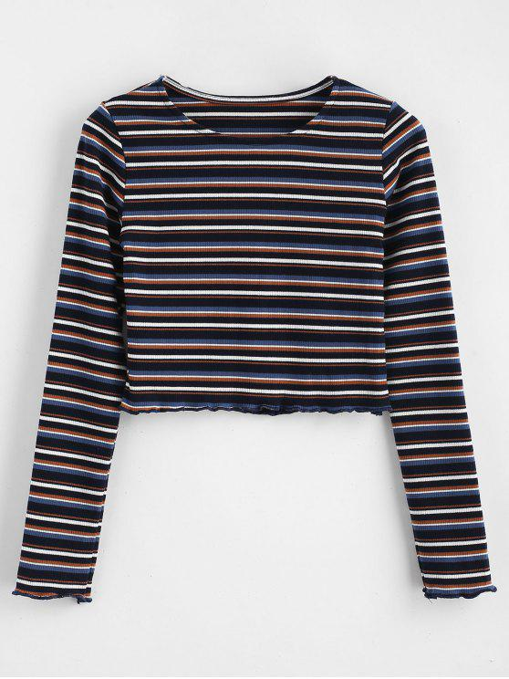 fancy Crop Knit Striped Tee - MULTI ONE SIZE