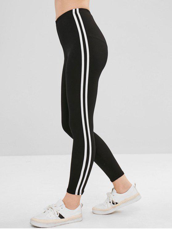 lady Ninth Striped Skinny Pants - BLACK S