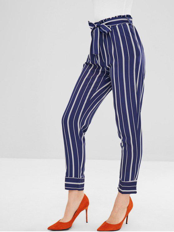 Pantalon de Nauf Minutes Rayé Ceinturé Droit - Bleu profond S