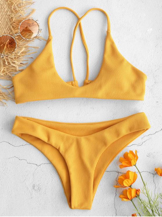 ZAFUL Ribbed Criss Cross Bikini Set - نحلة صفراء S