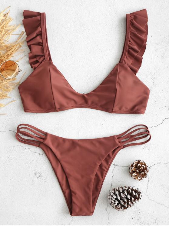 outfits ZAFUL Ruffle Lattice Bikini Set - LIPSTICK PINK M