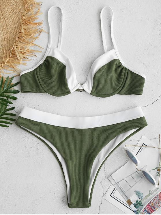 ladies ZAFUL Underwire Color Block Ribbed Bikini Set - DEEP GREEN M