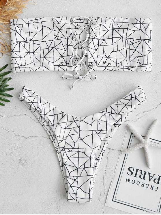 d7703baf47 23% OFF  2019 ZAFUL Geometric Lace Up Bralette Bikini Set In WHITE ...