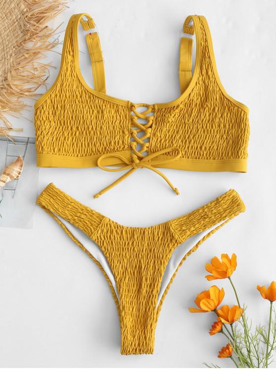 online ZAFUL Lace-up Smocked Tank Bikini Set - BEE YELLOW M