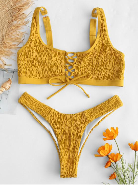 best ZAFUL Lace-up Smocked Tank Bikini Set - BEE YELLOW S