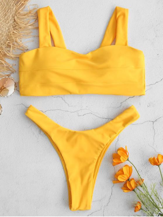 fashion ZAFUL Tie Back Square Neck Bikini Set - BRIGHT YELLOW L