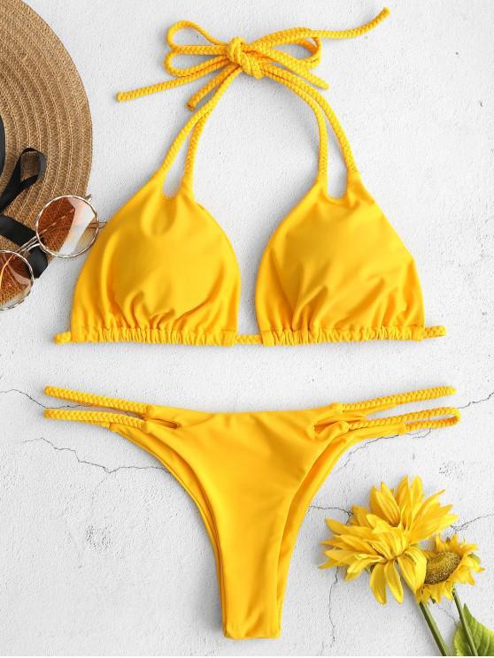 trendy ZAFUL Braided String Bikini Set - GOLDEN BROWN L