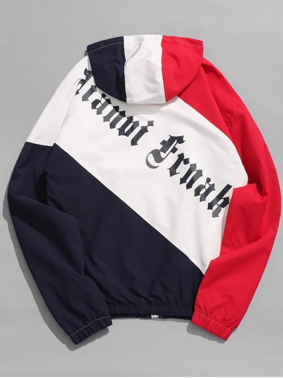 Chaqueta con capucha color block gráfico - Rojo S