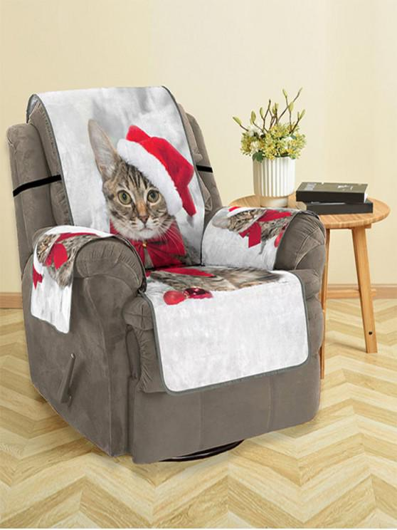 fancy Christmas Cat Pattern Couch Cover - MULTI SINGLE  SEAT