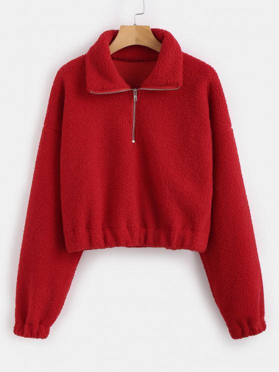 Sweat-shirt Simple à Demi-Zip en Fausse Fourrure - Rouge S