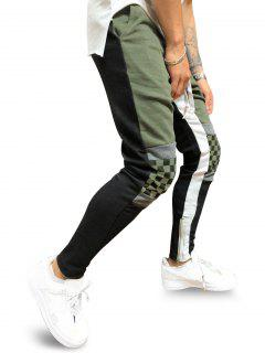Colorblock Checked Print Track Pants - Army Green L