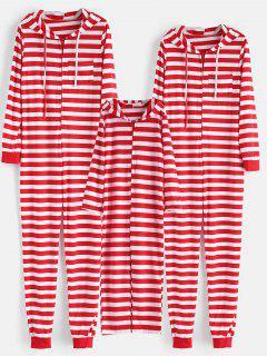 Striped Hooded Onesie Chirstmas Pajama Set - Red Kid 100