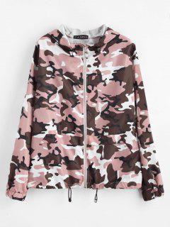 ZAFUL Zip Up Camouflage Hooded Windbreaker - Acu Camouflage M