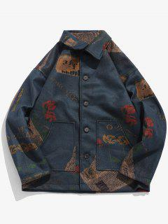 Floral Graphic Print Pocket Woolen Coat - Deep Blue L