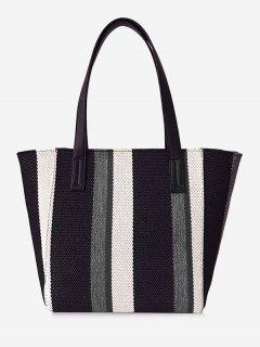 Striped Pattern Canvas Large Capacity Shoulder Bag - Black