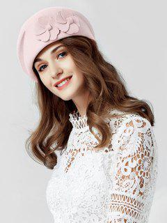 Floral Solid Color Woolen Beret - Pig Pink