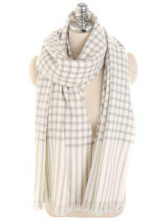 Checked Striped Pattern Long Scarf - White