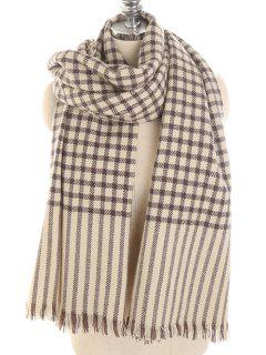 Checked Striped Pattern Long Scarf - Tan