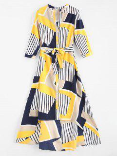 Stripe Patchwork High Low Dress - Multi L
