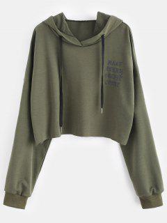 Raw Hem Graphic Plus Size Hoodie - Army Green 4x