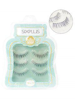 Cosmetic 3 Pairs Natural Black Volumizing False Eyelashes Set - Black