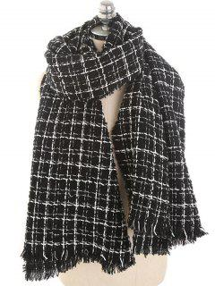 Winter Plaid Fringed Scarf - Night