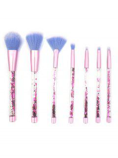 Cosmetic 7 Pcs Glitter Handles Soft Hair Cosmetic Brush Set - Pink