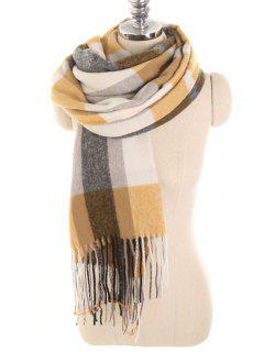 Tartan Pattern Embellished Long Scarf - Fall Leaf Brown