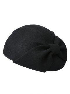 Bowknot Solid Color Woollen Beret - Black