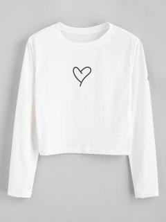 Heart Letter Crop T-shirt - White Xl