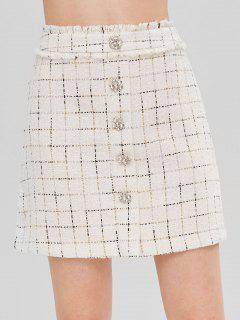 Buttons Embellished Plaid Frayed Skirt - Warm White M